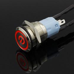Metalni taster 16mm sa LED svetlom crveni