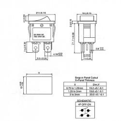 Prekidač 13x19mm 6A 250VAC DPST crveni