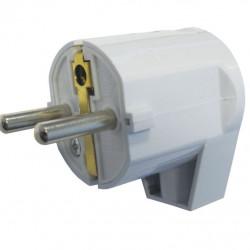 Šuko konektor muški  PVC ugaoni beli