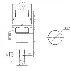 Taster za montažu na šasiju 12mm beli