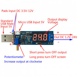 DC-DC step-up konvertor sa USB ulazom i LED displejom