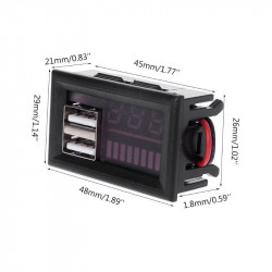 Indikator stanja akumulatora sa LED voltmetrom i 2 USB porta crveni