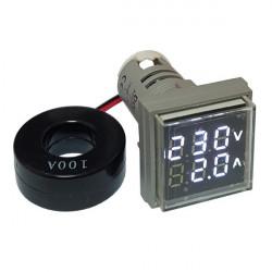 LED ampermetar/voltmetar 22mm beli
