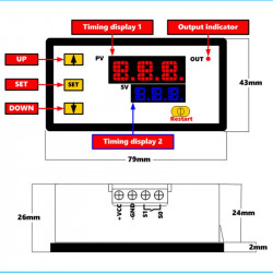 Univerzalni tajmer sa 2 LED displeja ugradni