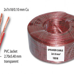 Kabl za zvučnike 2x1.0mm2 providni CCA