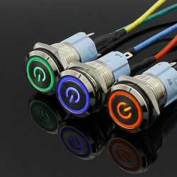 Metalni taster 16mm sa LED svetlom zeleni