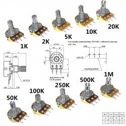 Obrtni potenciometar WH148M 500K