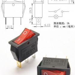 Prekidač 30x11mm 16A 250VAC crveni