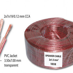 Kabl za zvučnike 2x1.5mm2 providni CCA
