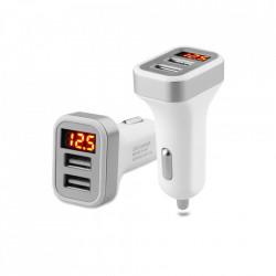 USB punjač za auto sa dva USB porta i voltmetrom