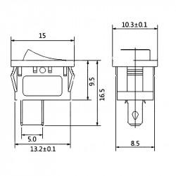 Prekidač 10x15mm 3A 250VAC crveni