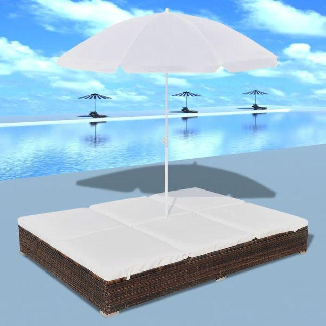 Sezlong Umbrela Poliratan Maro Poza