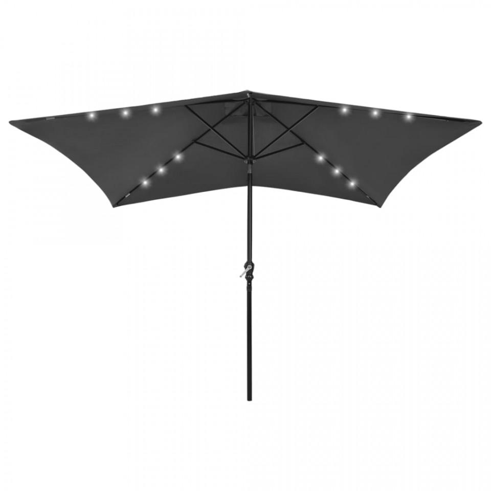 Umbrela Soare Led Uri Stalp Otel Antracit M
