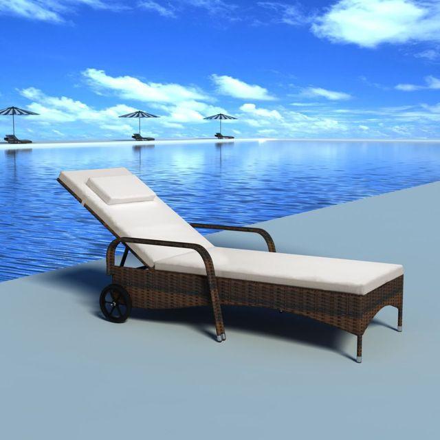 Șezlong de plajă cu pernă și roți, maro, poliratan