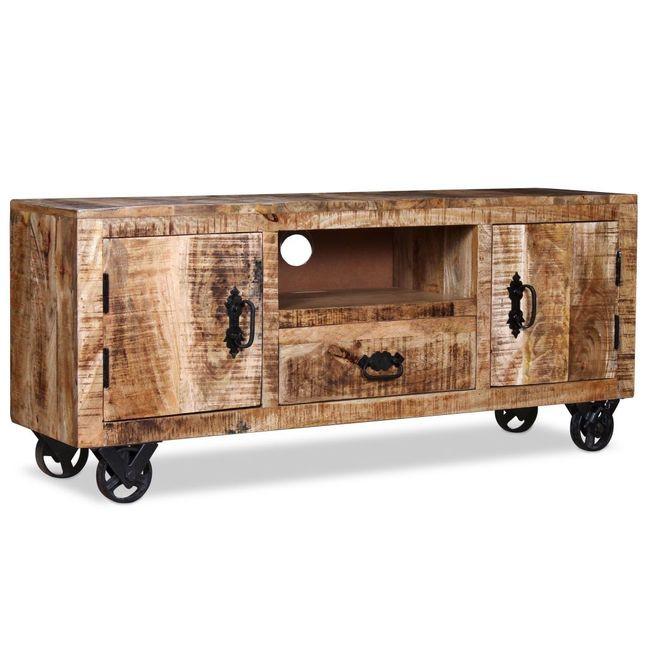 comod tv din lemn de mango nefinisat 120 x 30 x 50 cm. Black Bedroom Furniture Sets. Home Design Ideas