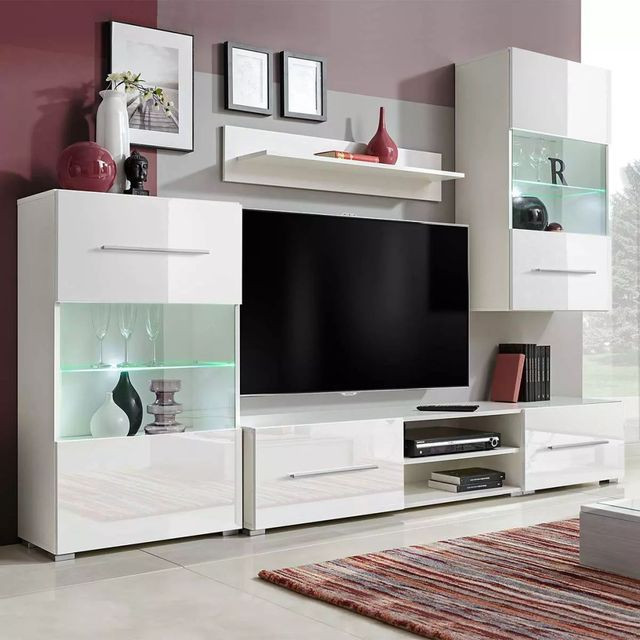 Foto Set Mobilier Comoda Tv Perete Alb Plus