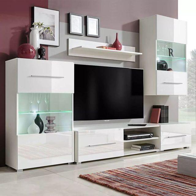 Set Mobilier Comoda Tv Perete Alb - 6145