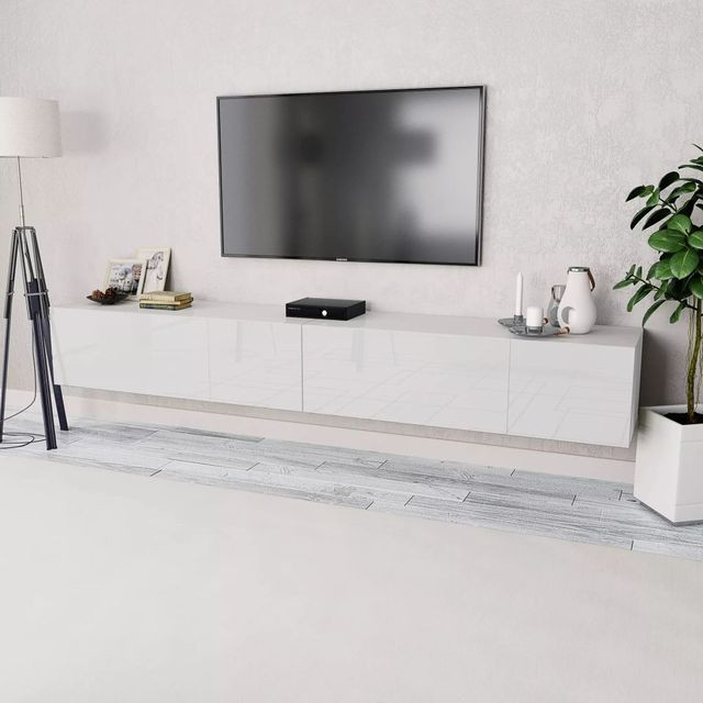 Comode Tv Pal Alb Lucios Mobilier Media Tv Ilustratie
