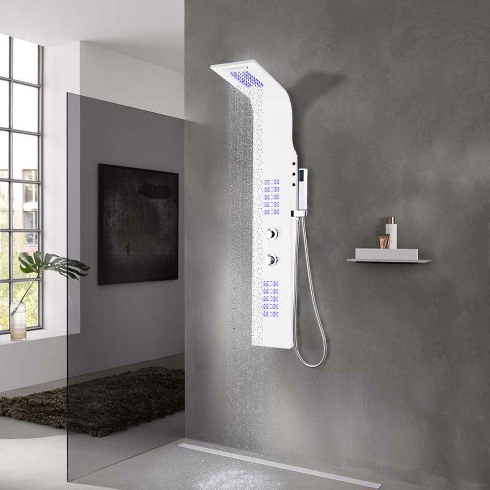 Ilustratie Unitate Panou Dus Aluminiu Alb Accesorii Instalatii Sanitare