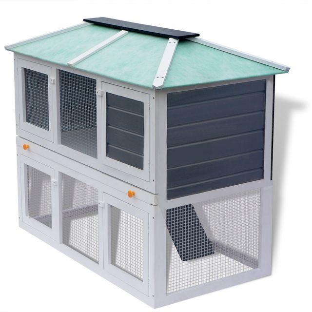 vidaXL Cușcă pentru iepuri și alte animale cu două niveluri, lemn