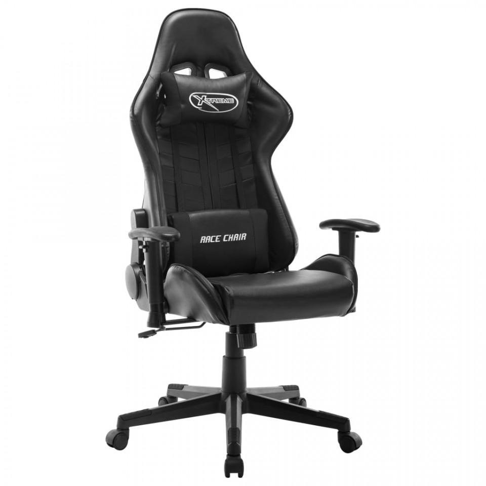 Scaun pentru jocuri, alb și negru, piele artificială