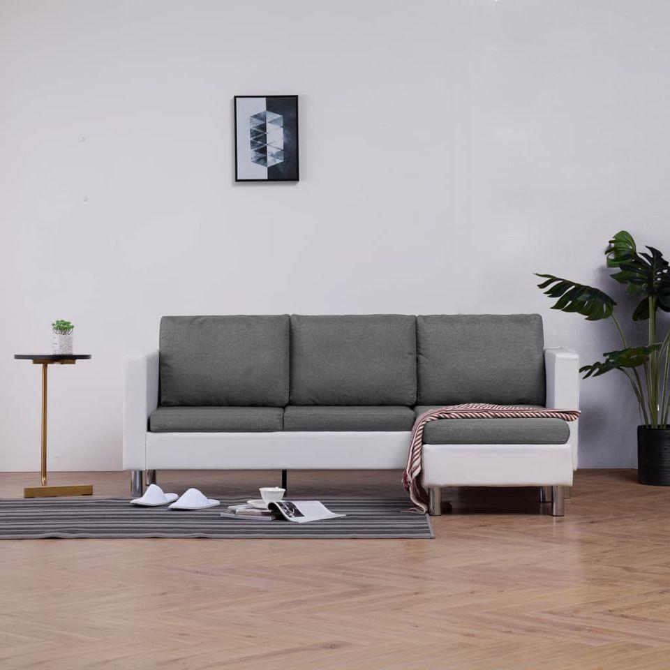 Canapea cu 3 locuri cu perne alb piele ecologică