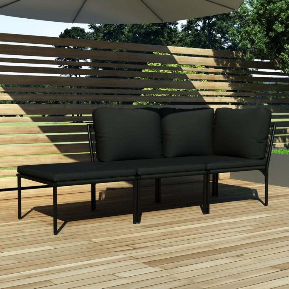 Set mobilier de grădină cu perne, 3 piese, negru, PVC