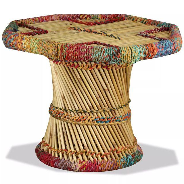 Masuta Cafea Bambus Detalii Chindi Multicolor