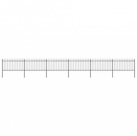 Gard de grădină cu vârf suliță, negru, 10,2 x 1 m, oțel