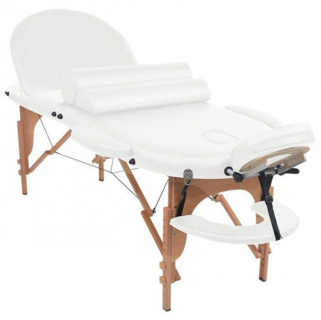 Masă masaj pliabilă cu 2 perne, 10 cm grosime, oval, Alb