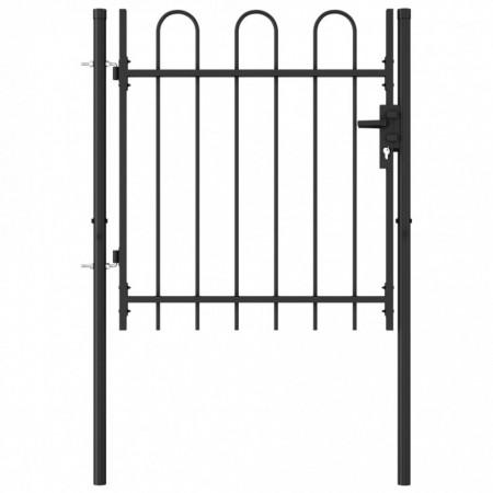 Poartă de gard cu o ușă, vârf arcuit, negru, 1 x 1 m, oțel