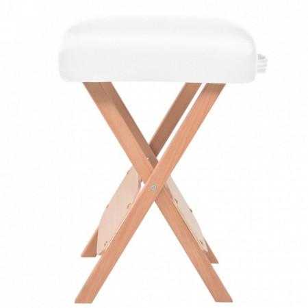 Set taburet și masă masaj pliabilă 3 zone, grosime 10 cm, alb