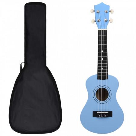 """Set ukulele Soprano pentru copii, cu husă, bleu, 21"""""""