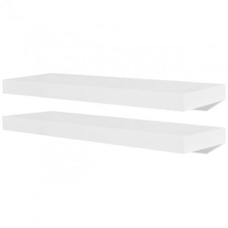 2 Rafturi suspendate pe perete din MDF depozitare cărți/DVD-uri, alb