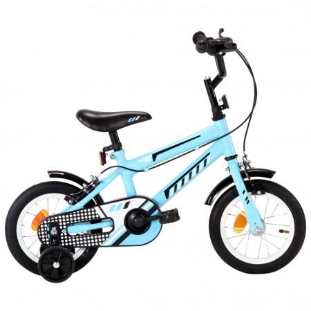 Bicicletă pentru copii, negru și albastru, 12 inci