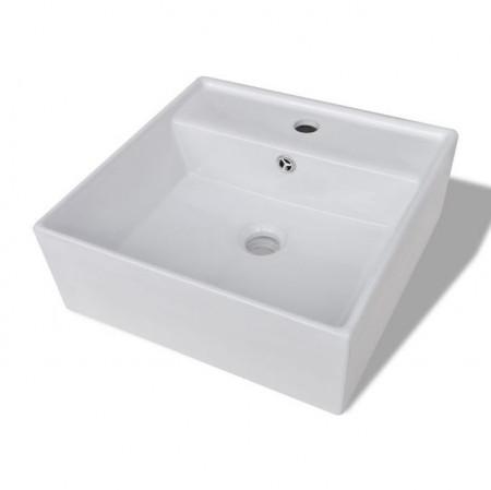 Chiuvetă pătrată din ceramică cu preaplin și scurgere 41 x 41 cm