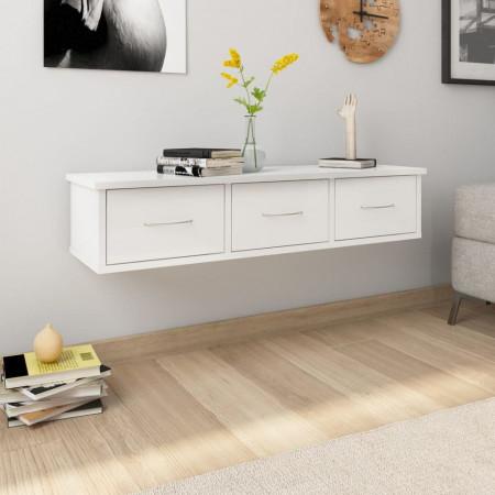 Dulap de perete cu sertare, alb extralucios, 90x26x18,5 cm, PAL