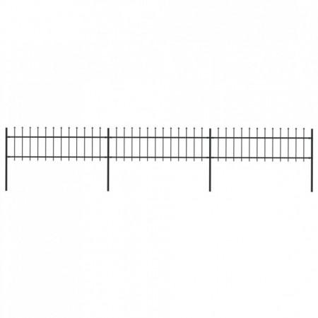 Gard de grădină cu vârf suliță, negru, 5,1 x 0,6 m, oțel