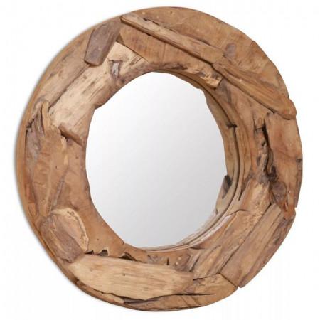 Oglindă decorativă Lemn de tec 60 cm Rotundă