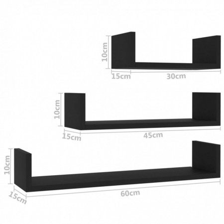 Raft expunere de perete, 3 buc., negru, PAL