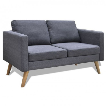 Set canapele cu 2 locuri și 3 locuri, textil, gri închis
