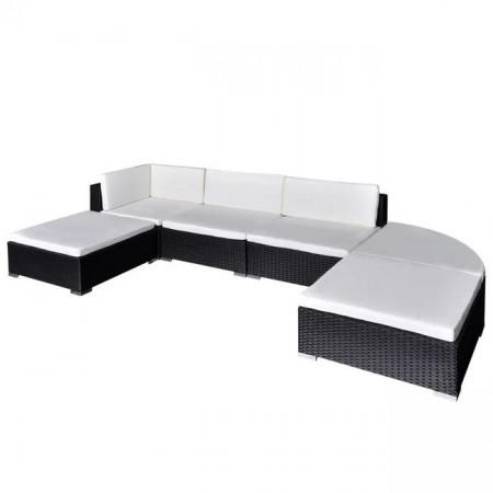 Set mobilier de grădină cu perne, 6 piese, negru, poliratan