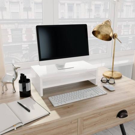 Suport monitor, alb foarte lucios, 42 x 24 x 13 cm, PAL