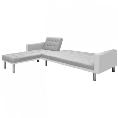 Colțar canapea din material textil, 218 x 155 x 69 cm, alb/gri