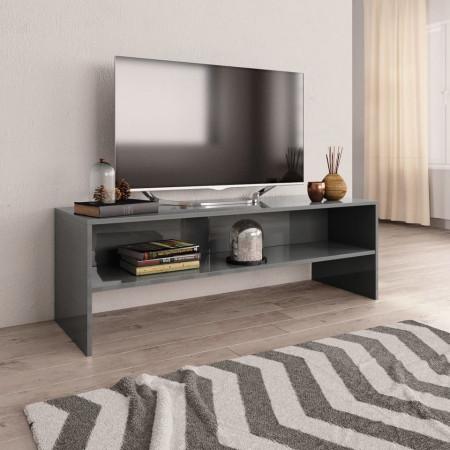 Comodă TV, gri foarte lucios, 120 x 40 x 40 cm, PAL