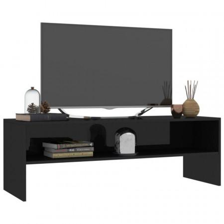 Comodă TV, negru foarte lucios, 120 x 40 x 40 cm, PAL