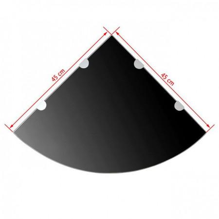 Raft de colț cu suporți de crom, sticlă, 45 x 45 cm, negru