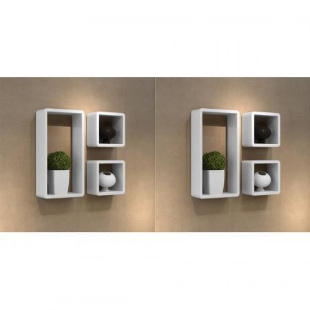 Rafturi cub de perete, 6 buc., alb
