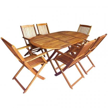 Set mobilier de exterior pliabil, 7 piese, lemn masiv de acacia