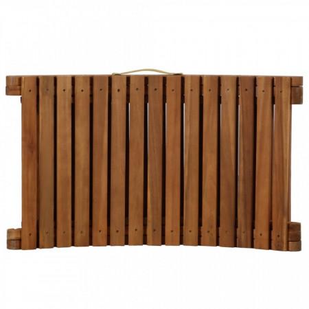 Șezlong cu saltea, gri închis, lemn masiv acacia